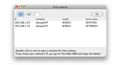 IP Camera Utility for OSX supporting Eyespy 247 F+