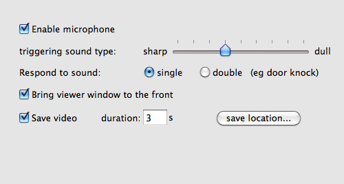 Audio trigger settings