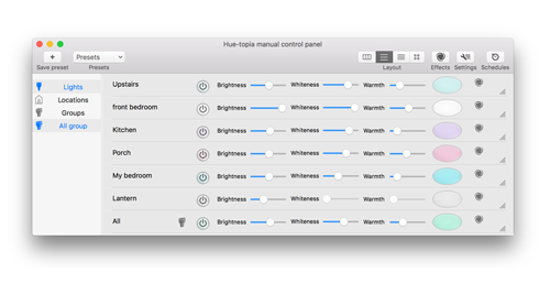Hue-topia - Philips Hue control for Mac