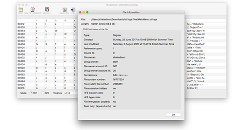 Peep for Mac OSX - View any file in detail, view / save in
